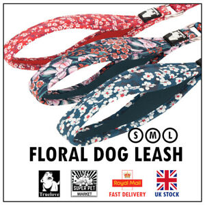Dog Leash Lead Truelove Floral Soft Strong Handle Training Red Blue Pink S M L