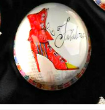 "JOYCE SHELTON GLASS PAPERWEIGHT- ""FABULOUS"" DESIGN HIGH HEEL SHOE"