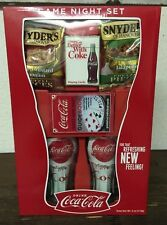Coca Cola Game Night Set * 2 Glasses * Pretzel Pieces * Playing Cards