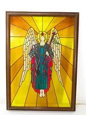 VTG Framed STAINED GLASS ART WINDOW Panel CHURCH ANGEL Retro Religious MCM Jesus