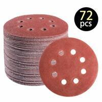72PCS 5Inch Sanding Discs Hook and Loop 8 Holes Random Orbital Sander Sandpaper
