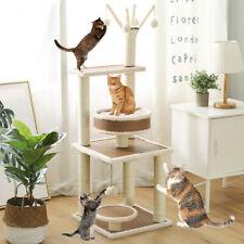 120cm Natural Jute Cat Tree Scratching Post Scratcher Climbing Tower Stand Wood