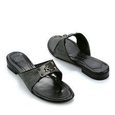 Rock & Republic MYLEE Kaos Black Leather Silver Stingray Thong Sandal 39 8.5 9 M