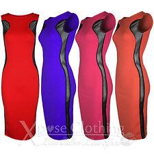 WOMENS LADIES SLEEVELESS MESH SIDES PLAIN MIDI DRESS SLIMMING BODYCON DRESSES