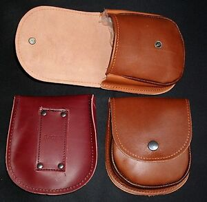 """LARGE LEATHER  POUCH / CASE size 145mm x 120mm x 30mm   2.75"""" BELT LOOP / BACSEW"""