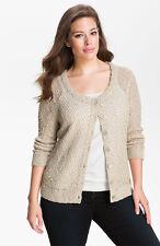 NEW $144 NIC + ZOE Shimmer Cardigan Elegant Metallic Stitch Knit Sweater 2X 3X