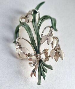 Vintage Antique Snowdrop Flower Pin Brooch Exquisite
