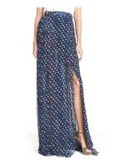 Diane Von Furstenberg NWT Leather-trimmed Floral-print Silk-georgette Maxi Skirt