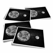 4x Rectangle Stickers - BW - Earth & Moon Planet Space Globe  #42824