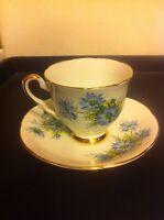 Royal Stafford Demi Tasse Cup Saucer White Blue Flowers Gold Trim