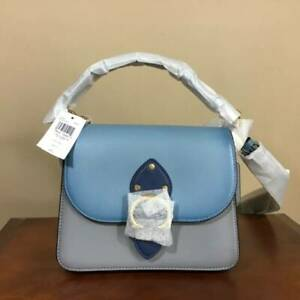 Coach Beat Color Block Smooth Leather Shoulder Bag Handbag Brass Azure Multi NWT