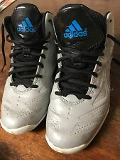 Adidas Gray/Black Patent Leather Hard Court Basketball High Hi Top Sneakers Sz 5