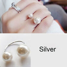 Simple Design Fashion Imitation Big Small Pearls Jewelry Adjustable Finger Ring Silver