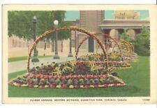 Canada Old Postcard Flower Gardens, Western Entrance, Exhibition Park, Toronto