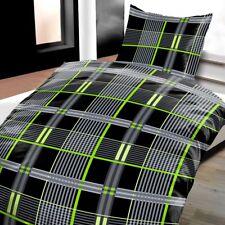 Mikrofaser Bettwäsche 135x200 2-teilig Kariert schwarz/grün