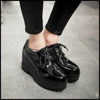 New Womens Patent Leather Lace Up Casual Shoes Platform High Wedge Heel Creepers