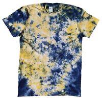 TIE DYE T SHIRT Yellow & Blue Tye Die Tshirt Festival Top Tee Rainbow Rave Tee