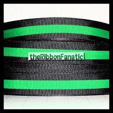 """3 yds 5/8"""" Thin Green Line Sheriff Lives Matter Black Blue Grosgrain Ribbon"""