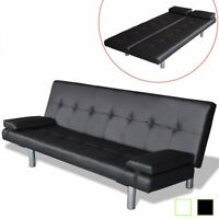 Modern PU Sofa Bed w/ 2 Pillows Faux Leather Adjustable Couch Home Black