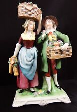 Beautiful Antique Dresden Flower Seller Couple