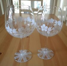Set of Two Extra  Large White and SilverGlitter flower Wine Glasses