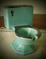 Green Ceramic Toilet Ashtray Vtg Cigarette Holder