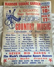 Vintage country music poster 1964 Madison Square Garden Owens, Monroe Snow+++