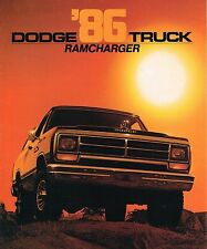 1986 DODGE RAMCHARGER Truck Brochure with Color Chart: AD150, AW150, 4WD, 4x4