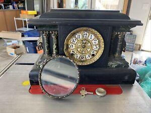 Antique Black Wood Mantle Decor Clock