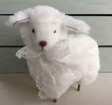 Super Soft Fluffy White Easter Lamb Decoration Ornament Gisela Graham Vintage