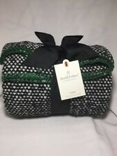 "Hearth & Hand With Magnolia Green Black Woven Throw Blanket Gaines 50"" x 60"" NWT"