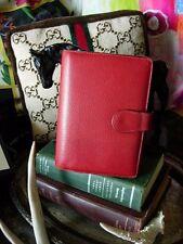 RARE Vintage GUCCI Red Leather Agenda Notebook Organizer Portfolio Accessory GG