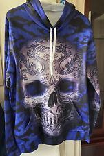 Unisex NWOT Tribal Skull Printed Hoodie Sweatshirt With Pocket-Blue/Black 3XL