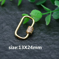 5pc Paved CZ Beads 16x40mm Metal China Union Shape Necklace Clasps Jewelry Findings