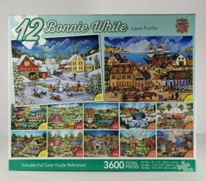 Bonnie White Collection of 12 Jigsaw Puzzle lot 3600 Piece Complete New Rare