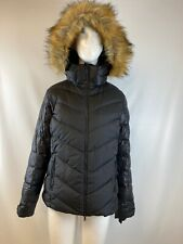 NWT Bogner Fire + Ice Black Fur Trim Hooded Puffer Jacket Women's Size 10