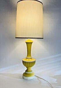 "Mid Century Modern FAIP Yellow Ceramic Table Lamp W Shade 1960s 26"" Tall"