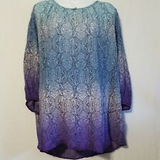 CHARTER CLUB 1X Batik Paisley Peasant Ombre Blouse Top Blue Purple Pull Over