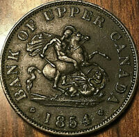 1854 UPPER CANADA DRAGONSLAYER HALFPENNY TOKEN - Really Nice!