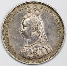 """Great Britain 1887 """"Jubilee Head"""" Shilling Coin about UNC"""