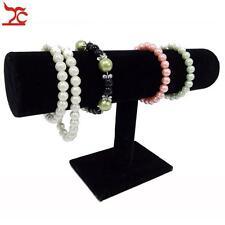 Black Velvet Wood T-Bar Bracelet Bangle Stand Holder Necklace Jewelry Display