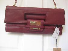 Z Spoke Zac Posen  Fold Over,  Red, Leather Clutch NEW