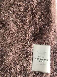 🌟Mongolian Faux Fur Blush Shaggy Rug Heritage Collection 90cm x 150cm BRAND NEW