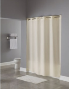 "Hookless Shower Curtain Beige Textured Box Print 71 x 77"" Water Repellent Fabric"