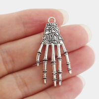 5Pcs Antique Silver Skeleton Skull Hand Charms Pendant Jewelry Making Findings