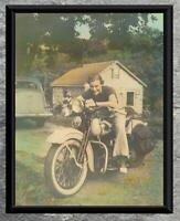 Classic... 1930's Knucklehead Harley Davidson , Tinted...Vintage 5x7 Photo Print
