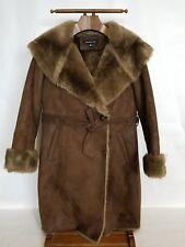 Jones New york Brown Suede Faux Fur Winter Coat Shearling Jacket  M Super Warm