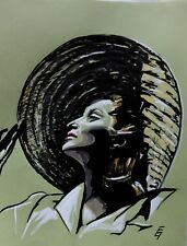 Künstler Zeichnung signiert 40er Jahre vintage Tusche Gouache Unikat Mode Film