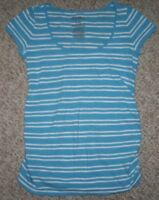 Old Navy Crewneck Tee T-Shirt Blue White Striped Women's Size XS Extra Small Top