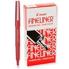 11015 Pilot Fineliner Marker Pen, Fine Fiber Tip, Red Ink, Pack of 24